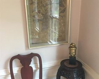 Chinese framed tapestry, rosewood stand