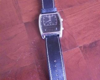 George Quartz Watch, Keeps good time, new batteries, leather band