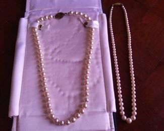 (2) Very Nice Imitation Pearl Necklaces, Both 18 in.