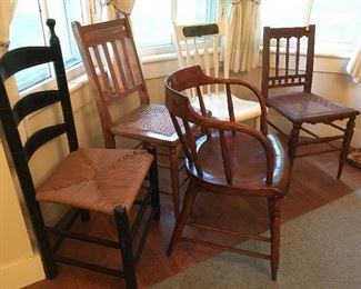 Miscellaneous antique chairs.