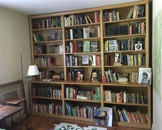 Custom bookshelf, 9 ft wide. Floor lamps. Books. Rugs.
