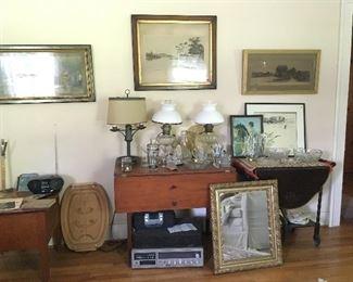 Tables, carts, trays, framed art. Mirror.
