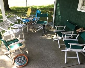 Outdoor furniture, chairs, lounge chairs.