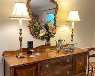 Gorgeous sideboard with inlays, lamps, mirror & accessories
