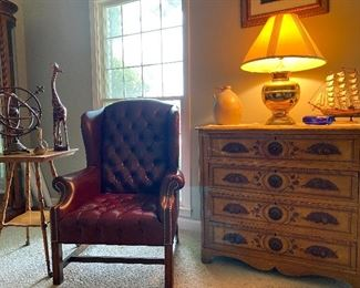 Victorian chest, tufted leather chair, side table & accessories
