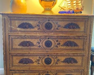Victorian 4 Drawer Chest, hand painted details & carved handles