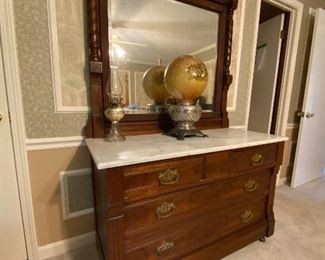 Eastlake Style dresser with marble top & mirror