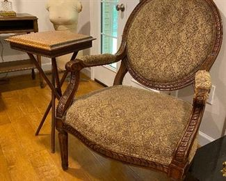 Pair of upholstered cameo back chairs