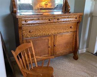 Tiger oak sideboard, child's rocker
