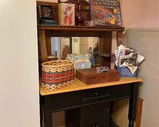 Crafting table/kitchen island & antique hutch