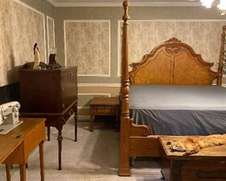 Bedroom furniture including chest on stand, side table, oak king size bed, cedar lined chest & more