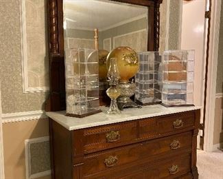 Eastlake chest with marble top & attached mirror