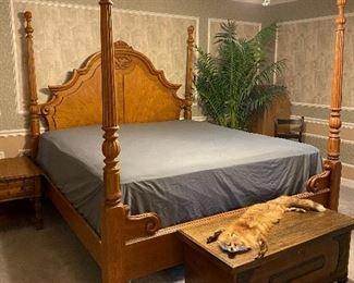 King size oak bed with mattress & box spring, cedar chest & full fox pelt