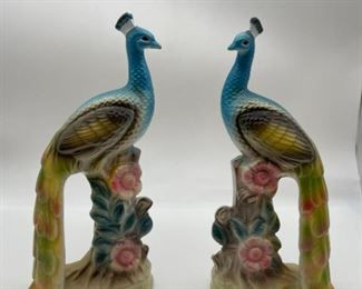 Vintage Porcelain Handpainted Peacocks