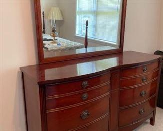 Vintage Dixie Mahogany Dresser with Mirror
