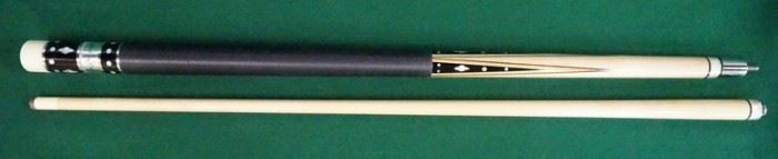 """1003Palmer Pool Cue; First Catalog, Model 5Circa 1965; butt: 28 1/2"""", 15.9 oz.; shaft: 28 3/4"""", 4.2 oz, 12.6mm; total length 57"""", 20.1 oz; refinished by Proficient Billiards, Ephrata, PA; ebony points (dead even) with four veneers, linen wrap, straight, 40 MOP inlays; window reads """"Original by Palmer"""" on silver foil; mint condition"""