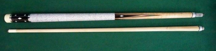 """1002Palmer Pool Cue; First Catalog, Model 3Circa 1965; butt: 28 3/4"""", 14.1 oz.; shaft: 28 1/2"""", 3.6 oz, 12.1mm; total length 57 1/4"""", 17.7 oz; refinished by Proficient Billiards, Ephrata, PA; rare ebony Brunswick Titlist conversion, atypical 5/16 x 14 pin, linen wrap, straight, veneers in one of the points are damaged; 16 MOP inlays; very good condition"""