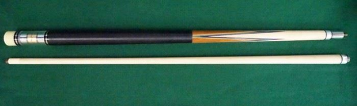 """1004Palmer Pool Cue; First Catalog, Model 6Circa 1965; butt: 28 1/2"""", 16.6 oz.; shaft: 28 3/4"""", 3.8 oz, 12.8mm; total length 57 1/4"""", 20.4 oz; refinished by Proficient Billiards, Ephrata, PA; Brunswick Titlist conversion, linen wrap, straight; window reads """"Original by Palmer"""" on gold foil; mint condition"""