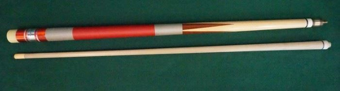 """1006Palmer Pool Cue; First Catalog, Model 8Circa 1965; butt: 28 1/4"""", 16.4 oz; shaft #1: 28 3/4"""", 3.7 oz., 12.5mm; shaft #2: 28 3/4"""", 3.4 oz., 12.5mm; total length with each shaft is 57""""; total weight 20.1 oz. or 19.8 oz.; unrestored original, house cue conversion, original wrap; window reads """"R.L.M."""" """"Original by Palmer"""" on silver foil; both shafts have a slight taper roll; good original condition"""