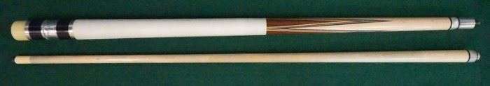 """1008Palmer Pool Cue; First Catalog, Model 9Circa 1965; butt: 28 3/4"""", 15.2 oz; shaft: 28 3/4"""", 4 oz, 13mm; total length 57 1/2"""", 19.2 oz; unrestored original from *The Palmer Collector* collection; Brunswick Titlist conversion; original linen wrap; window reads """"Original by Palmer"""" on silver foil; excellent condition"""