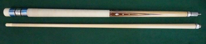 """1009Palmer Pool Cue; First Catalog, Model 10Circa 1965; butt: 28 1/2"""", 16.3 oz; shaft: 28 3/4"""", 3.7 oz, 13mm; total length 57 1/4"""", 20 oz; unrestored original with original linen wrap; Brunswick Titlist conversion; 20 MOP inlays; window reads """"Jerry Foley"""" """"Original by Palmer"""" on silver foil; straight; excellent condition"""