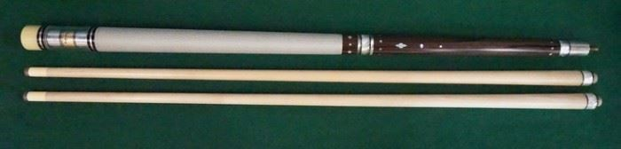 """1010Palmer Pool Cue; First Catalog, Model 11Circa 1965; butt: 28 3/4"""", 16.8 oz; shaft #1: 28 1/2"""", 3.7 oz, 12.6mm; shaft #2: 28 1/2"""", 4 oz, 12.6mm; total length with each shaft is 57 1/4""""; total weight 20.5 oz. or 20.8 oz.; both shafts are original to the cue; unrestored original; 36 MOP inlays; straight; window reads """"Andre"""" """"Original by Palmer"""" on gold foil; RARE CUE - reportedly only 100 model 11's were made; mint condition"""