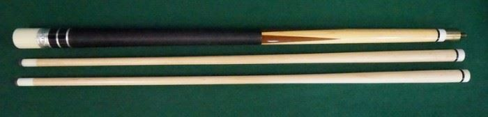 """1012Palmer Pool Cue; Second Catalog, Model BCirca 1968; butt: 28 1/2"""", 14.7 oz; shaft #1: 28 1/2"""", 4.2 oz, 12.75mm; shaft #2: 28 3/4"""", 3.8 oz, 13mm; total length 57"""" and 57 1/4""""; total weight 18.9 oz and 18.5 oz; unrefinished original, house cue conversion, dacron wrap, butt is straight, shaft #1 is straight, butt #2 has a slight taper roll; window reads """"Original by Palmer"""" on silver foil; excellent original condition"""