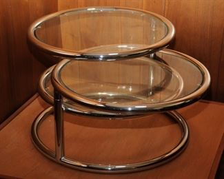 MID-CENTURY MODERN THREE TIER GLASS AND CHROME COFFEE TABLE