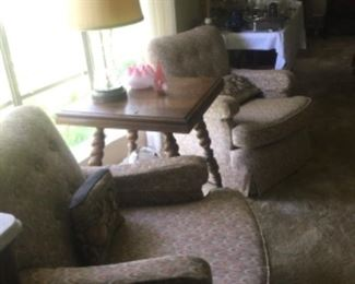Side Chairs and Victorian Oak Table