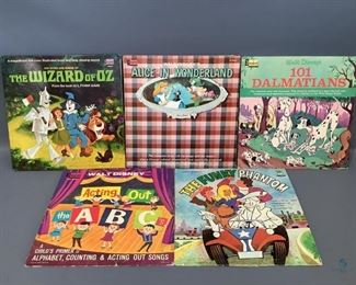 Four (4) Vintage Disney Albums and One (1) Hanna-Barbera