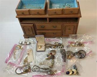 Jewelry Box with Mostly Costume Jewelry, some 14K  and sterling.