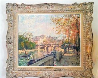 Oil painting Paris Scene Jean Salabet