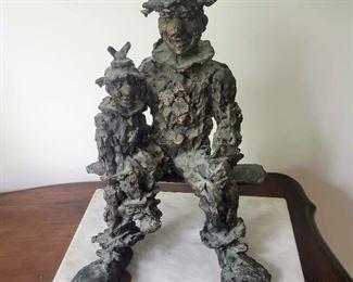 Irwin Hyman bronze Clown and Puppet