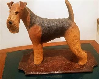 Airdale terrier sculpture signed RC