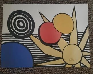 Calder Sun with Planets pencil signed and marked EA