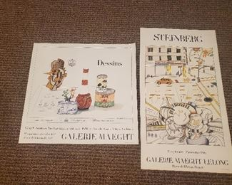 Pair Galerie Maeght period lithographs for Steinberg exhibitions unframed