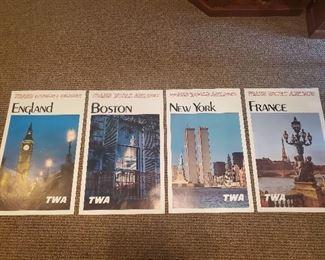 Four vintage 1965 TWA travel posters