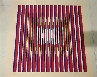 """Yaacov Agam """"agamagraph"""" kinetic art lithograph Deep Prayer signed and numbered."""