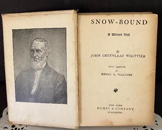 """Additional photo of inside cover of """"Snow-Bound"""" book."""