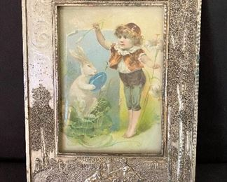 """Nice ornate antique silver plate frame by W.B. Manufacturing Co. See additional photos. Measures 8 1/8"""" wide x over 10 1/2"""" length. Insert size is 5x7. $45"""