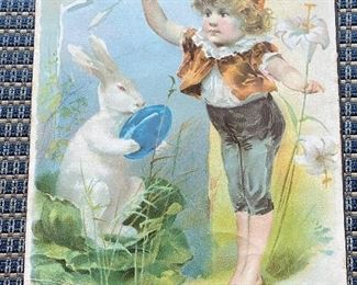 """Additional photo of Rabbit trade card dated """"1893"""" by The Knapp Co. N.Y. Included in frame."""