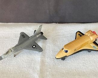 """1. USAF Die-cast Metal replica plane by """"Ertl Company"""", made in Dyersville, Iowa.                                                                                   2. """"Everlast Toys"""" plastic replica plane. (missing tail piece). Pair $20"""
