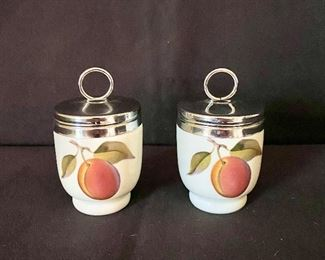 """""""Royal Worcester"""" porcelain egg coddlers. Single size - Peach & Blackberries Pattern. Made in England. $25"""