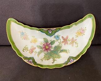 Vintage porcelain hand painted bone dish marked LJ with foil stamp. $14