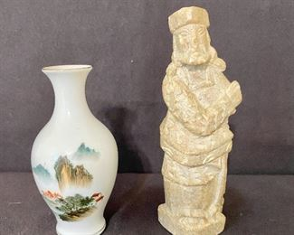 Pair of Asian collectibles, hand painted bud vase and stone carving. $18