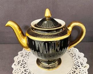 """""""Hall"""" black with gold 6 cup teapot. $22"""