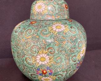 Large Japanese Porcelain Ginger Jar hand decorated. $20