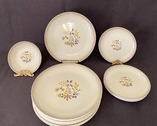 """Rare Pattern """"Charm"""" by Homer Laughlin Duratione. Vintage """"1950's"""" dish set. 6 dinner plates, 5 salad plates and 1 bowl. Chip on 1 plate and a chigger or small plate. Set for $40"""