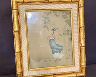 Asian print in a gold bamboo frame. $20