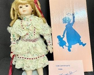 """1989 Marian Yu Design Co Porcelain Victorian Doll. Has original box and certificates. Barefoot with stand. Measures 16"""" tall. No chips or cracks, marked No 619/10,000. $20"""